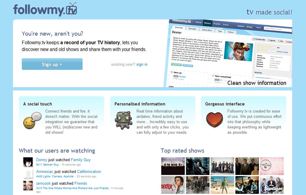 Followmy.tv la red social para los adictos a las series