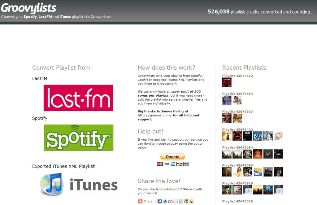 Groovylist, para exportar a Grooveshark las listas de Spotify