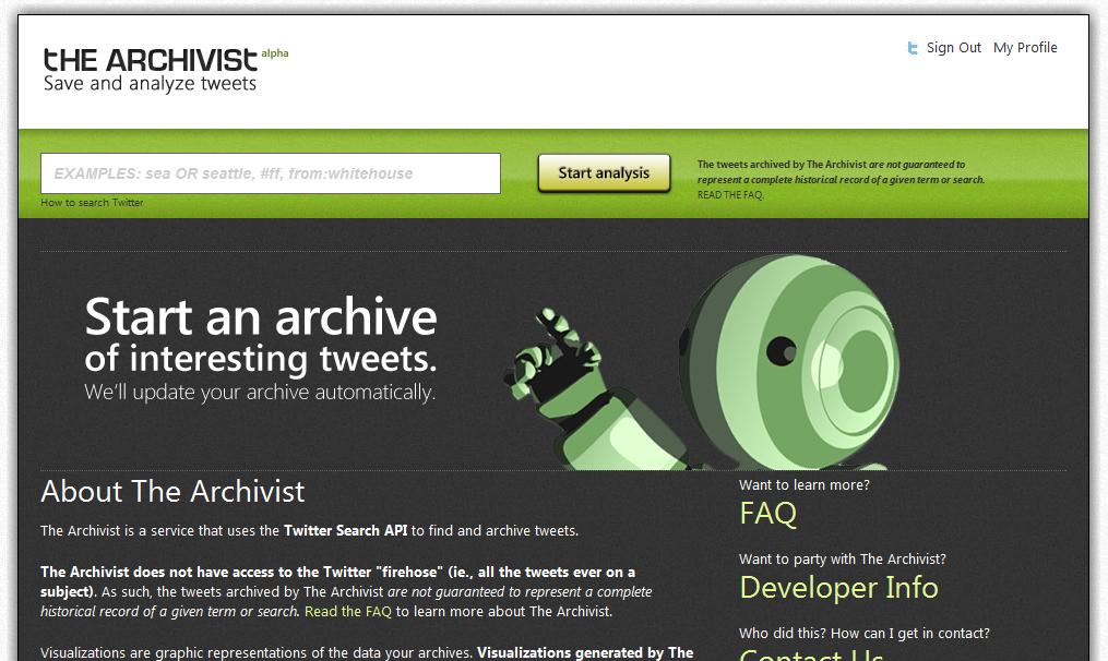 Analiza la información de twitter con The Archivist
