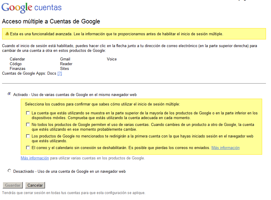 Acceder a varias cuentas múltiples de Google