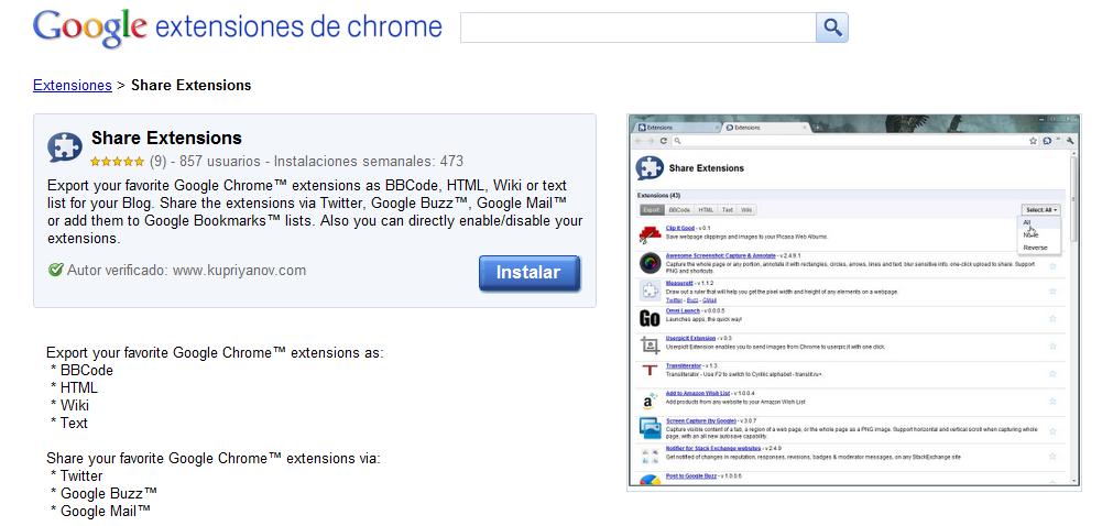 Comparte fácilmente las extensiones que usas en Chrome