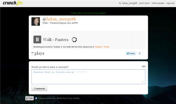 Crunch.fm permite compartir tu música en Twitter
