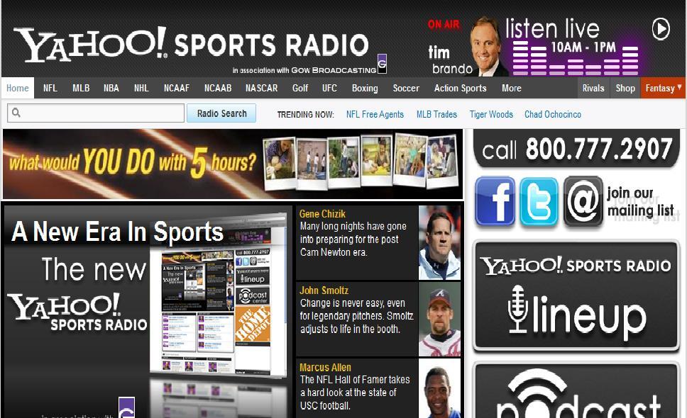 Nuevo servicio de un gigante: Yahoo! Sports Radio