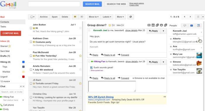 Gmail añade la vista previa en la bandeja de entrada del correo electrónico