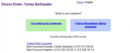 Google Person Finder volvió a funcionar por el terremoto en Turquía