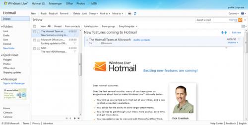 Windows Live Hotmail actualiza sus características