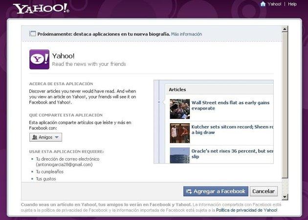 Conoce las noticias desde Facebook con Yahoo!