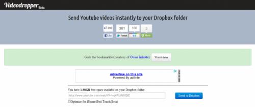 VideoDropper: Web para enviar videos de YouTube a Dropbox