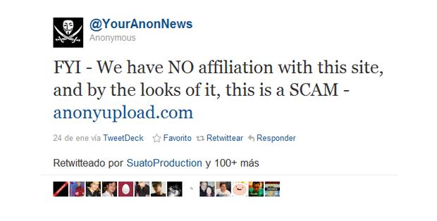 Cuidado con la web Anonyupload.com
