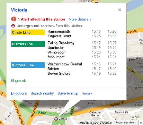 Google Maps añade informes en tiempo real del metro de Londres