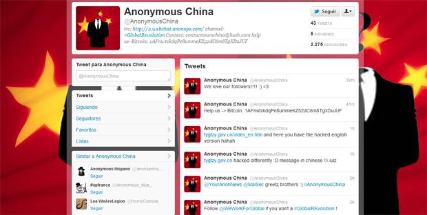 Miembros de Anonymous atacan 500 webs del Gobierno chino