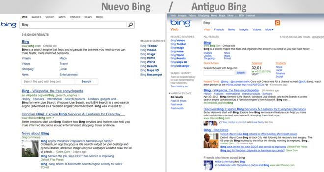 Bing limpia su diseño acercándose a Google