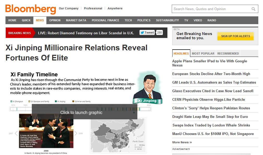 China bloquea la web de Bloomberg