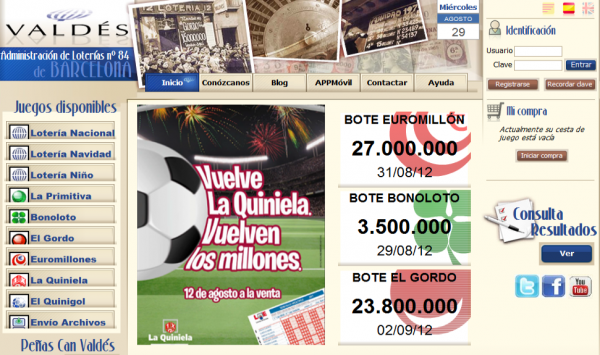 Lotería Valdés, juega desde casa y con el móvil