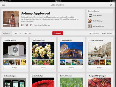 Pinterest presentó sus apps para iPad y Android