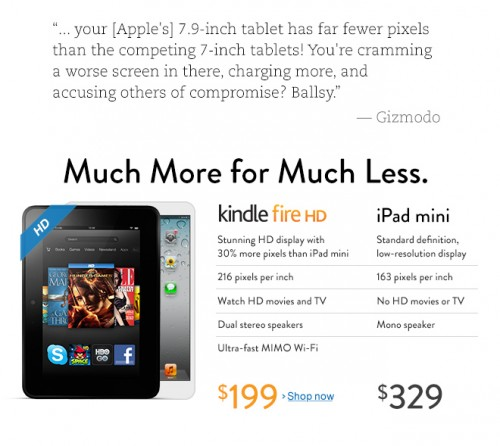 Amazon se burla de Apple y su nuevo iPad Mini