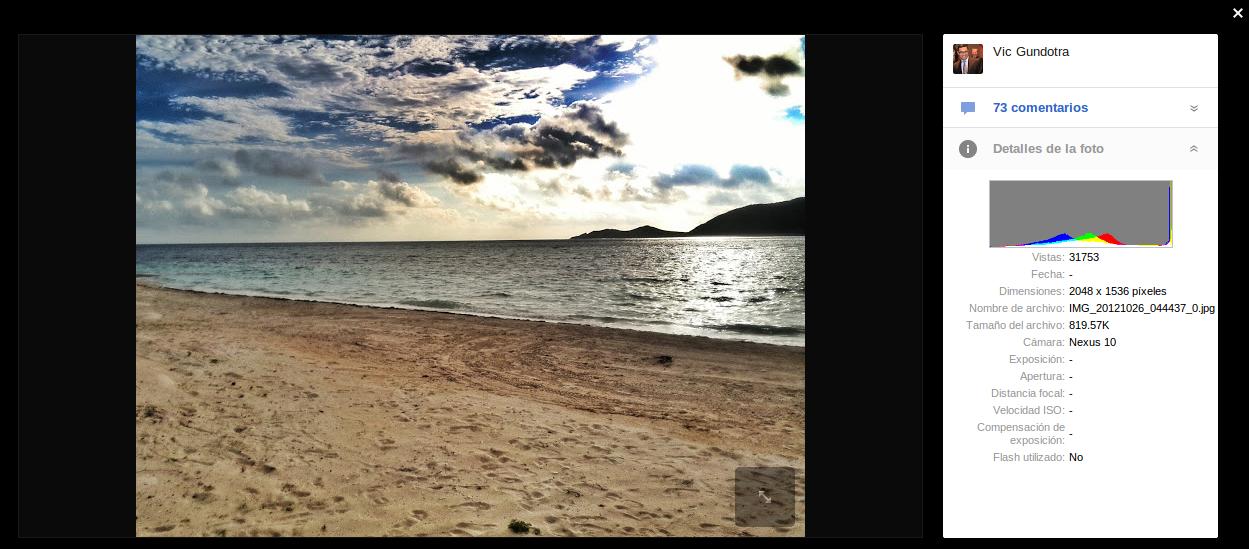 Fotos tomadas con Nexus 10 aparecen en Google+