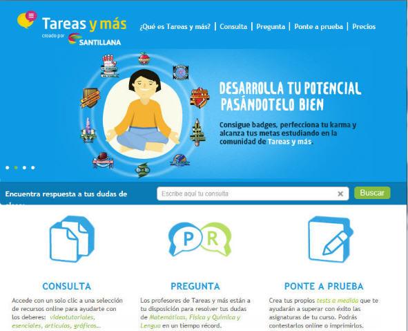 """""""Tareas y más"""", la web de apoyo al estudio de Santillana"""