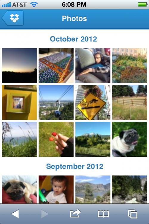 Dropbox actualiza su sitio móvil con nueva galería de fotos