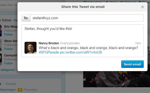 Twitter permitirá el envío de correos electrónicos
