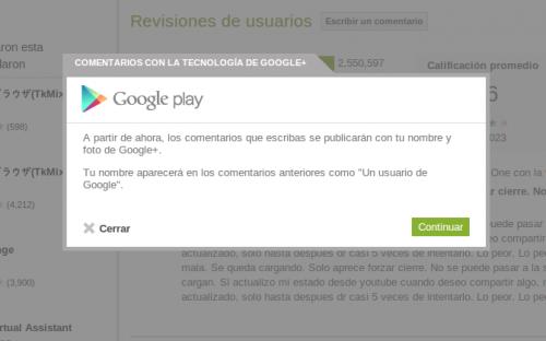 Google fusiona las opiniones de Play Store con G+