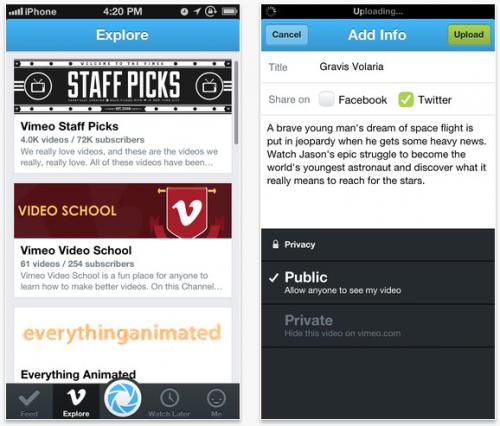 Vimeo lanzó su nueva app para iPhone