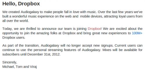 Dropbox adquirió Audiogalaxy