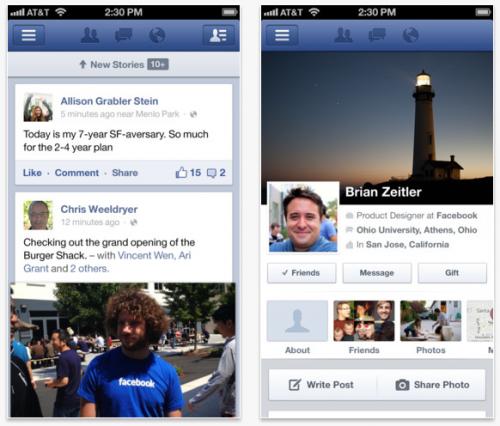 Facebook añade mejoras a su app para iOS