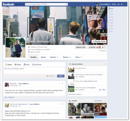 Facebook lanza la nueva Biografía con una sola columna