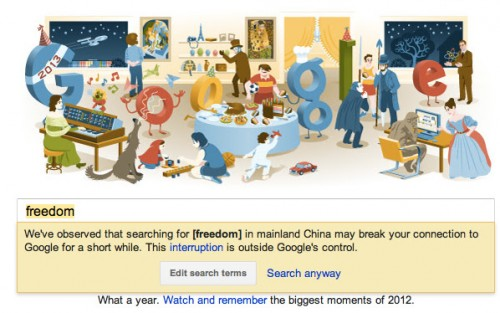 Google desactiva la notificación de censura en China