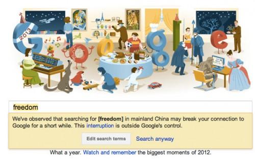 Google desactiva la notificación de censura en China