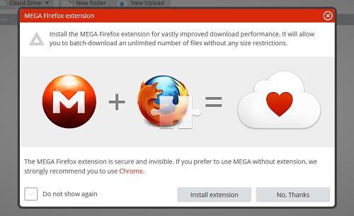 Mega lanzó su extensión oficial para Firefox