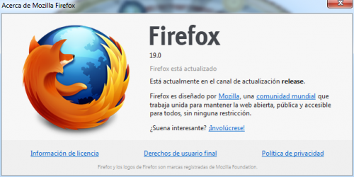 Firefox 19, disponible para la descarga