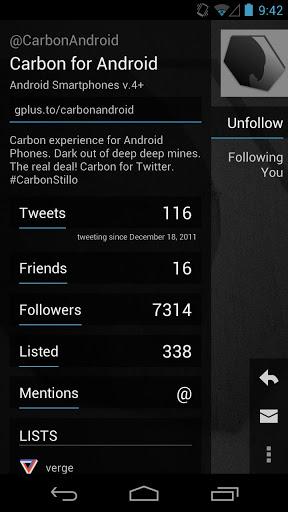 Carbon, un nuevo cliente de Twitter para Android