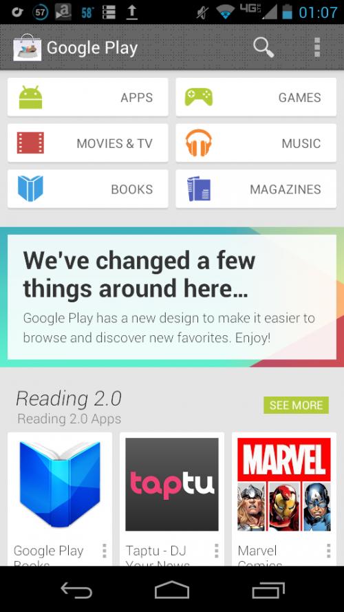 El nuevo diseño de Google Play se deja ver otra vez