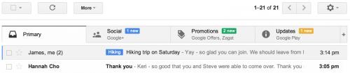 Gmail renueva su interfaz con pestañas en la bandeja de entrada