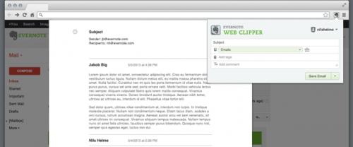 Evernote Web Clipper añade soporte para correos de Gmail