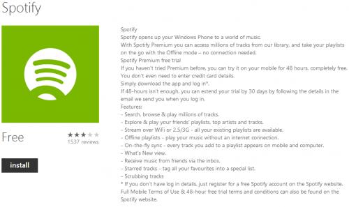 Spotify para Windows Phone 8 sale de fase beta