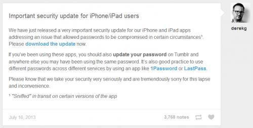 Tumblr para iOS recibe una importante actualización de seguridad