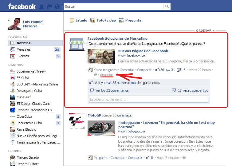 Las historias patrocinadas desaparecerán de Facebook